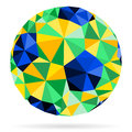 Soccer ball with color brazil flag in mosaic pattern vector isolated on white background Stock Image
