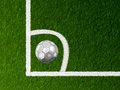 Soccer ball on corner of field Royalty Free Stock Images
