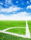 Soccer ball in corner kick position. Royalty Free Stock Photo