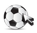 Soccer ball with cursor arrow - sport shopping Stock Photos