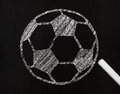 Soccer ball, drawing on a blackboard Royalty Free Stock Photos
