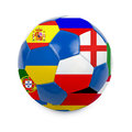 Soccer ball with euro countries flags on a white background Royalty Free Stock Photo