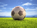 Soccer ball on the field with clipping path on the Stock Image