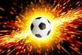 Soccer ball in fire abstract sports background big explosion Stock Photography