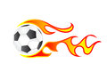 Soccer ball fire isolated with Stock Photos