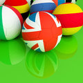 Soccer ball flag background Royalty Free Stock Photos