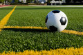 Soccer ball or football on a field Royalty Free Stock Photos
