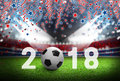 Soccer ball 2018 on football field in russia stadium with light Royalty Free Stock Photo