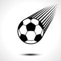 Soccer ball or football speeding through the air Royalty Free Stock Photo