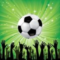 Soccer ball for football sport with fan hands Royalty Free Stock Photo