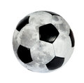 Soccer ball in the form of the Moon. (isolated) Royalty Free Stock Image