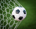 Soccer ball in goal net Stock Photography