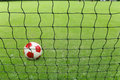 Soccer ball and goal net Royalty Free Stock Photo