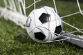 Soccer ball and goal net selective focus Royalty Free Stock Photography