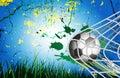 Soccer Ball on Grass background for Football Design in goal net Royalty Free Stock Photo
