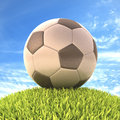 Soccer ball on the grass with clipping path on the Royalty Free Stock Photography