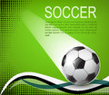 Soccer ball on green background with black halftones eps illustration Royalty Free Stock Photography