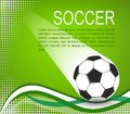 Soccer ball in the green background with curves and halftones eps illustration Stock Photos