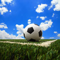 Soccer ball on the green field background Stock Photos