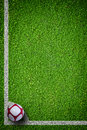 Soccer ball on green grass closeup image of football Stock Photo