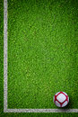 Soccer ball on green grass closeup image of football Stock Image