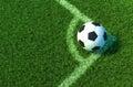 Soccer ball on green grass, Corner of soccer field .3D illustration Royalty Free Stock Photo