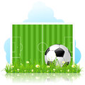 Soccer ball on green grass and gridiron Stock Photography