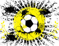 Soccer ball grunge banner vector illustration of a in black and white with yellow accents rays come out of it and it has Stock Photography