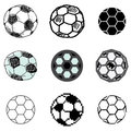Soccer ball icons set Royalty Free Stock Images