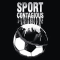 Soccer ball illustration with white text