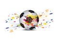 Soccer ball and ink splatter background Stock Photo