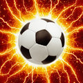 Soccer ball lightnings abstract sports background bright stars Stock Image