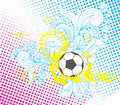 Soccer ball modern template vector illustration of a in black and white with yellow cyan and magenta accents it has hand drawn Royalty Free Stock Image