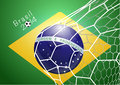 Soccer ball in net with brazil flag vector illustration modern template design Stock Photography