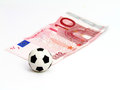 Soccer Ball in note 10 euro Royalty Free Stock Photography