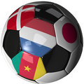 Soccer ball over white with 4 flags - Group E 2010 Royalty Free Stock Photos