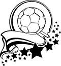 Soccer Ball With Pennant & Stars Design Stock Photo