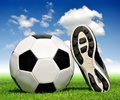 Soccer ball and shoes Royalty Free Stock Photo