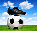 Soccer ball and shoes in grass Stock Images