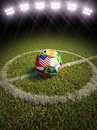 Soccer ball on a soccer field of the participating countries d rendering Stock Images