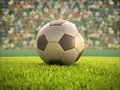 Soccer ball stadium on the field with clipping path on the Royalty Free Stock Photo