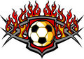 Soccer Ball Template with Flames Image Royalty Free Stock Photos