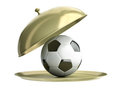 Soccer ball on a tray Royalty Free Stock Images