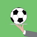 Soccer ball on the waiter platter Royalty Free Stock Images
