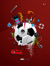 Soccer ball on the wall, graffiti Royalty Free Stock Images