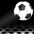 Soccer ball on wing a is to beginning of match Royalty Free Stock Image