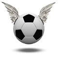 Soccer ball with wings isolated on white Stock Photo