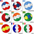Soccer balls of deferent countries Stock Photography