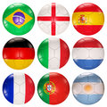 Soccer balls flags of top ranked countries 3d Royalty Free Stock Image