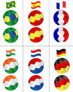 Soccer balls with flying flags Stock Photo